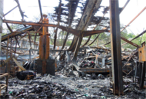 Oxfam's former premises after the fire